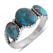 Santa Fe Style Mojave Blue Turquoise Sterling Silver Ring (Size 9.0) TGW 3.50 cts.