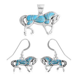 Kingman Turquoise Sterling Silver Pendant, Set of 2 Earrings TGW 6.250 Cts. TGW 6.25 Cts.