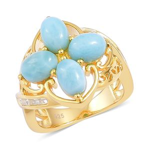 Larimar, White Topaz 14K YG Over Sterling Silver Ring (Size 7.0) TGW 5.75 cts.