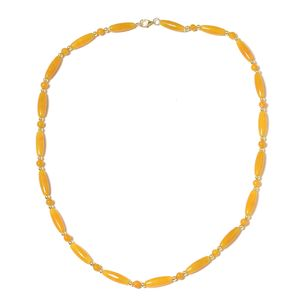 Burmese Yellow and Green Jade Beads 14K YG Over Sterling Silver Necklace (18.50 in) TGW 84.00 cts.