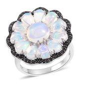 Ethiopian Welo Opal, Thai Black Spinel Black Rhodium Sterling Silver Daisy Flower Ring (Size 7.0) TGW 4.23 cts.