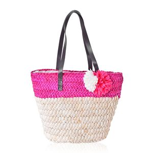 Fuchsia Straw Flower Beach Tote with Faux Leather Strap (11.5x5x12 in)