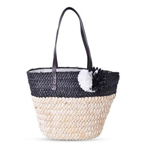 Black Straw Flower Beach Tote with Faux Leather Strap (11.5x5x12 in)