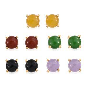 Burmese Multi Color Jade Vermeil YG Over Sterling Silver Set of 5 Stud Earrings TGW 6.96 cts.