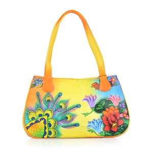 SUKRITI - Yellow Floral and Peacock Hand Painted Genuine Leather Shoulder Bag with Standing Studs (15x3.5x9 in)
