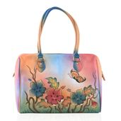 SUKRITI - Multi Color Garden Hand Painted Genuine Leather Shoulder Bag with Standing Studs (15x6x11.5 in)