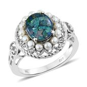 Australian Mosaic Opal, Freshwater Pearl Platinum Over Sterling Silver Ring (Size 11.0) TGW 2.40 cts.