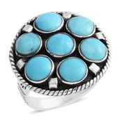 Santa Fe Style Kingman Turquoise Sterling Silver Ring (Size 7.0) TGW 5.25 cts.