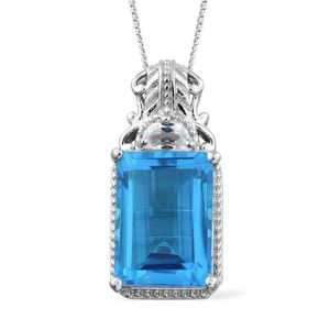 Caribbean Quartz, White Topaz Platinum Over Sterling Silver Pendant With Chain (20 in) TGW 9.55 cts.