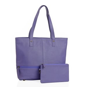 Lavender Genuine Leather Tote Bag with Standing Studs (14x3.5x12 in) with RFID Clutch (9x5 in)