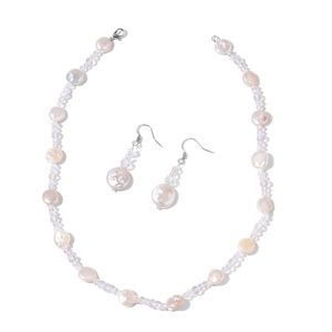 Freshwater Coin Pearl, Glass Beads Stainless Steel Earrings and Necklace (18 in)