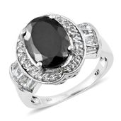 Shungite, White Topaz Platinum Over Sterling Silver Ring (Size 10.0) TGW 5.40 cts.