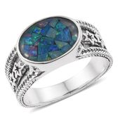 Australian Mosaic Opal Sterling Silver Star Engraved Solitaire Men's Ring (Size 10.0) TGW 5.00 cts.