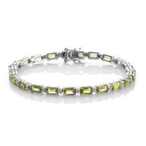 Nitin's Knockdown Deals Hebei Peridot, Cambodian Zircon Platinum Over Sterling Silver Bracelet (7.25 In) TGW 16.35 cts.