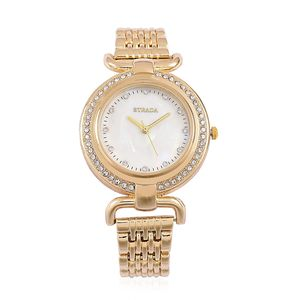STRADA Austrian Crystal Japanese Movement Water Resistant Watch with Goldtone and Stainless Steel Back TGW 2.00 cts.