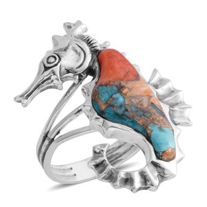 Santa Fe Style Spiny Turquoise Sterling Silver Horse Ring (Size 7.0) TGW 2.15 cts.