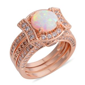 Lab Created Opal, Simulated Diamond Rosetone Set of 2 Ring (Size 8.50) TGW 3.46 cts.