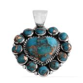 Santa Fe Style Mojave Blue Turquoise Sterling Silver Heart Pendant without Chain TGW 7.50 cts.