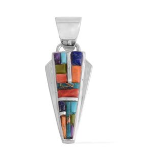 Santa Fe Style Multi Turquoise, Lapis Lazuli, Multi Color Spiny Oyster Shell Sterling Silver Pendant without Chain TGW 1.20 cts.