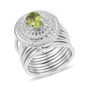 KARIS Collection - Multi Wear Hebei Peridot Platinum Bond Brass Stacked Ring (Size 8) or Bracelet TGW 1.40 cts.