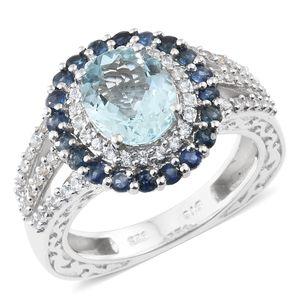 AAA Espirito Santo Aquamarine, Kanchanaburi Blue Sapphire, Cambodian Zircon Platinum Over Sterling Silver Ring (Size 6.0) TGW 3.88 cts.