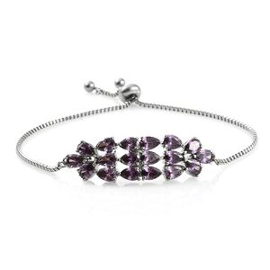 Simulated Amethyst Stainless Steel Bolo Bracelet (Adjustable) TGW 10.50 cts.