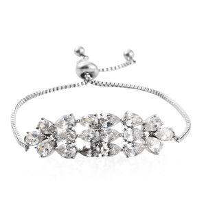 Simulated Diamond Stainless Steel Bolo Bracelet (Adjustable) TGW 11.30 cts.