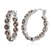 Mocha Scapolite Platinum Over Sterling Silver Inside Out Hoop Earrings TGW 5.30 cts.