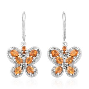 Salamanca Fire Opal, Cambodian Zircon Platinum Over Sterling Silver Lever Back Earrings TGW 1.63 cts.