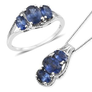 Masoala Sapphire Platinum Over Sterling Silver Ring (Size 7) and Pendant With Chain (20 in) TGW 5.75 cts.