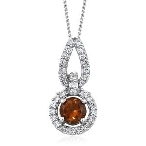 Mocha Scapolite, Cambodian Zircon Platinum Over Sterling Silver Pendant With Chain (20 in) TGW 0.93 cts.