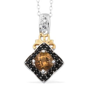 Mocha Scapolite, White Topaz, Thai Black Spinel 14K YG and Platinum Over Sterling Silver Pendant With Chain (20 in) TGW 1.02 cts.