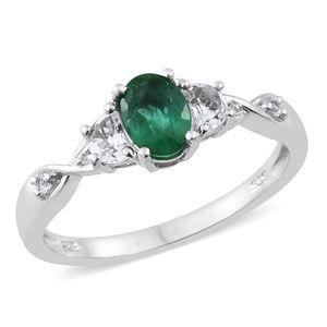 Premium Brazilian Emerald, White Topaz Platinum Over Sterling Silver Ring (Size 8.0) TGW 1.21 cts.