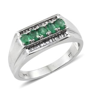 Premium Brazilian Emerald, White Topaz Platinum Over Sterling Silver Men's Ring (Size 12.0) TGW 1.45 cts.