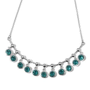 Stainless Steel Dangle Bar Necklace (18 in) Made with SWAROVSKI Blue Zircon Crystal
