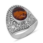 Bali Legacy Collection Baltic Amber Sterling Silver Ring (Size 8.0)