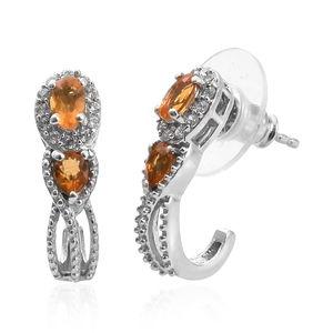 Salamanca Fire Opal, Cambodian Zircon Platinum Over Sterling Silver J-Hoop Earrings TGW 0.80 cts.