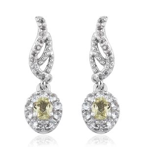 Madagascar Olive Apatite, Cambodian Zircon Platinum Over Sterling Silver Wing Drop Earrings TGW 0.92 cts.