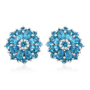 Malgache Neon Apatite Platinum Over Sterling Silver Flower Stud Earrings TGW 2.08 cts.
