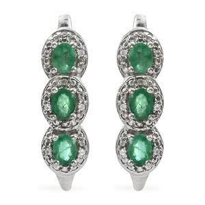 Premium Brazilian Emerald, Cambodian Zircon Platinum Over Sterling Silver J-Hoop Earrings TGW 1.23 cts.