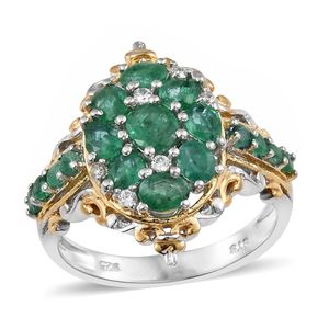 Premium Brazilian Emerald, Cambodian Zircon 14K YG and Platinum Over Sterling Silver Openwork Ring (Size 8.0) TGW 2.02 cts.