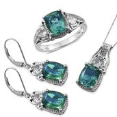 Peacock Quartz, White Topaz Platinum Over Sterling Silver Lever Back Earrings, Ring (Size 8) and Pendant With Chain (20 in) TGW 16.00 cts.