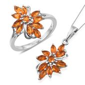 Salamanca Fire Opal Platinum Over Sterling Silver Ring (Size 8) and Pendant With Chain (20 in) TGW 1.96 cts.