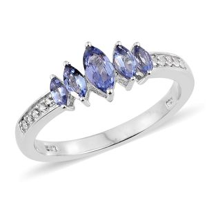 Tanzanite, Cambodian Zircon Platinum Over Sterling Silver Ring (Size 5.0) TGW 1.00 cts.