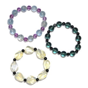 Multi Colo Glass Beads Set of 3 Bracelet (Strechable) TGW 397.60 cts.