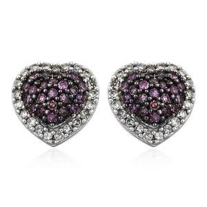 Purple Diamond (IR), Diamond Black Rhodium & Platinum Over Sterling Silver Heart Stud Earrings TDiaWt 0.50 cts, TGW 0.50 cts.