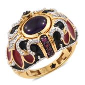 GP Amethyst, Multi Gemstone Vermeil YG Over Sterling Silver Cage Reversible Ring (Size 6.0) TGW 3.42 cts.