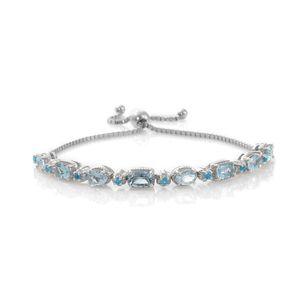 Premium AAA Espirito Santo Aquamarine, Malgache Neon Apatite Platinum Over Sterling Silver Magic Ball Bracelet (Adjustable) TGW 4.12 cts.