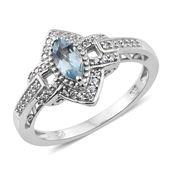 Premium AAA Espirito Santo Aquamarine, Cambodian Zircon Platinum Over Sterling Silver Link Marquise Ring (Size 10.0) TGW 0.81 cts.