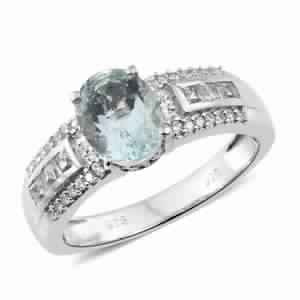 Espirito Santo Aquamarine, White Topaz, Cambodian Platinum Over Sterling Silver Ring (Size 9.0) TGW 2.59 cts.